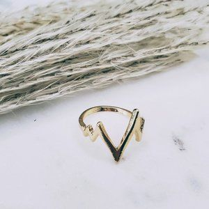 5 for $25 Gold Color Heart Beat Wave Wire Ring